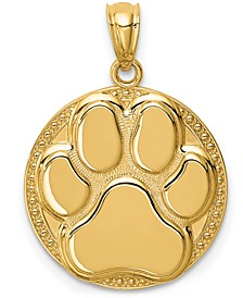 Paw Print Charm Pendant in 14k Yellow Gold