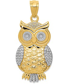 Textured Owl Charm in 14K Gold with Rhodium Plating