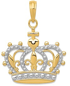 Sovereign Crown Charm Pendant in 14k Gold & White Rhodium Plated