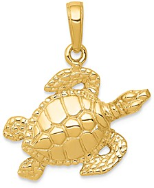 Sea Turtle Charm Pendant in 14k Yellow Gold