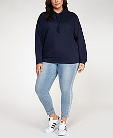 Plus Size Metallic-Threaded Hoodie