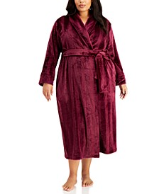 Plus Size Long Stripe Textured Cozy Robe, Created for Macy's