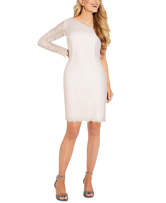 Adrianna Papell One-Shoulder Lace Bodycon Dress