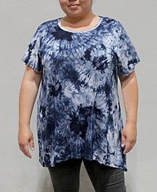 Women's Plus Size Tie Dye Short Sleeve Button Back Top