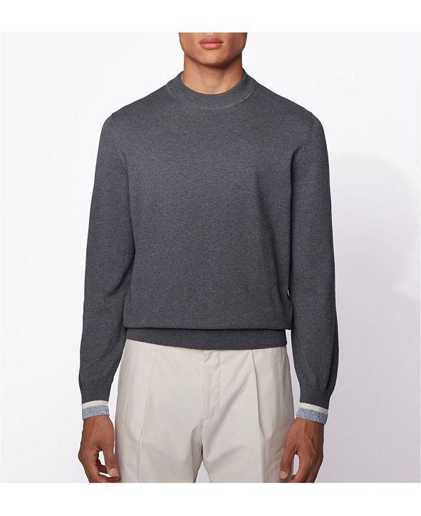 Hugo Boss BOSS Men's Ifeo Cotton Sweater with Striped Cuffs