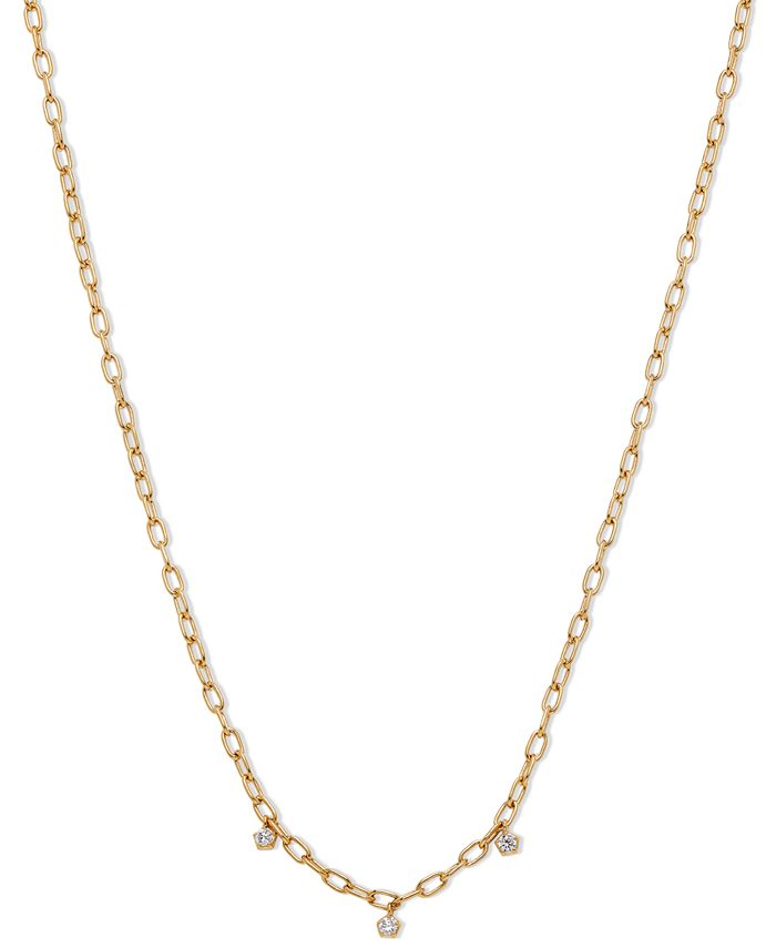 """AVA NADRI - 18k Gold-Plated Link & Cubic Zirconia Shaky Charm Collar Necklace, 16"""" + 2"""" extender"""