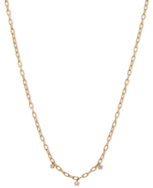 18k Gold-Plated Link & Cubic Zirconia Shaky Charm Collar Necklace