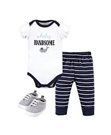 Baby Boys Bodysuit, Pant and Shoe Set