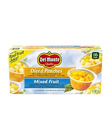 DelMonte Diced Peaches Mixed Fruit Cups, 4 oz, 16 Count