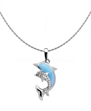 """Larimar & White Sapphire (1/4 ct. t.w.) Dolphin 21"""" Pendant Necklace in Sterling Silver"""