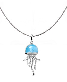 """Larimar & White Sapphire (1/20 ct. t.w.) Jellyfish 21"""" Pendant Necklace in Sterling Silver"""