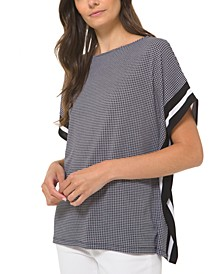 Plus Size Houndstooth-Print Tunic Top
