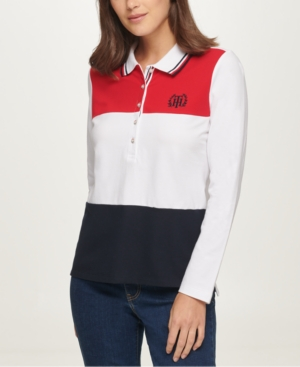 Tommy Hilfiger COLORBLOCKED POLO SHIRT, CREATED FOR MACY'S