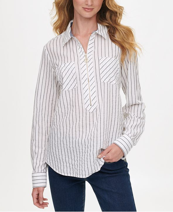 Tommy Hilfiger Striped Zip-Up Popover Top