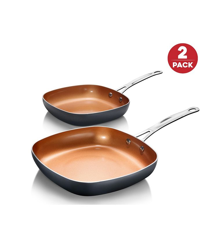 """Gotham Steel - Aluminum Ultra-Nonstick Ceramic and Diamond Infused Coating Induction Capable Square 8.5"""" & 9.5"""" Fry Pan Set"""