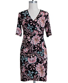 Plus Size Floral-Print O-Ring Dress