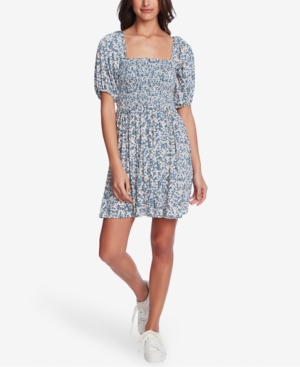 1.state SMOCKED FLORAL-PRINT MINI DRESS