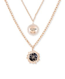 "Gold-Tone Pavé & Jet Logo Layered Pendant Necklace, 16"" + 2"" extender"