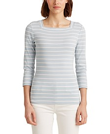 Petite Striped Square-Neck Top