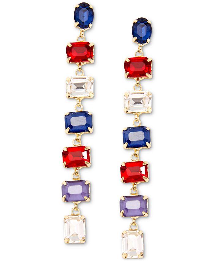 Zenzii - Gold-Tone Multicolor Crystal Drop Earrings