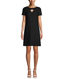 Bow-Trim Keyhole Shift Dress
