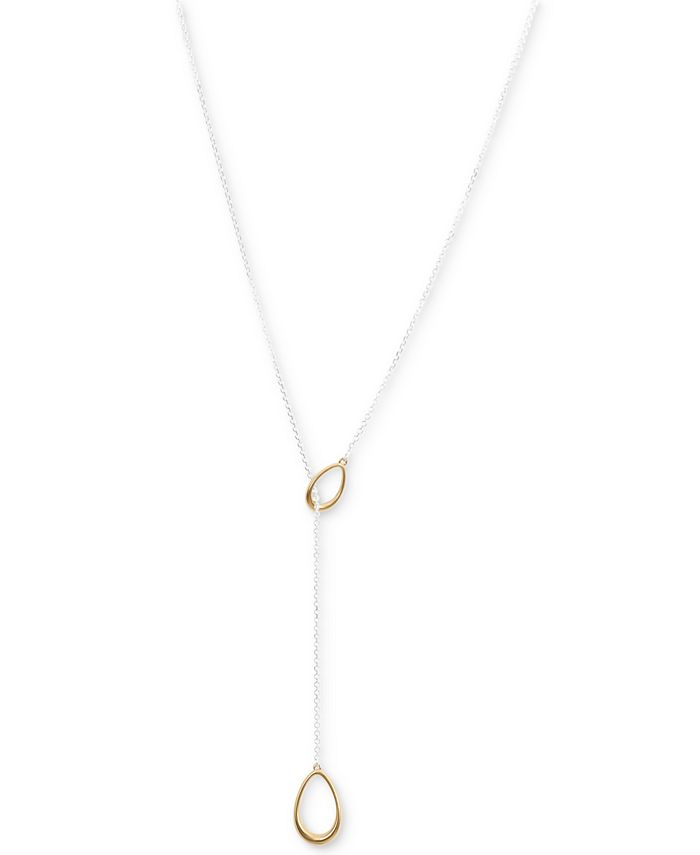 """Lucky Brand - Two-Tone Teardrop 28"""" Lariat Necklace"""