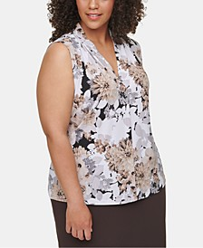 Plus Size Floral-Print V-Neck Top