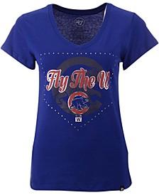 Women's Chicago Cubs Home Slogan Ultra Rival V-Neck T-Shirt