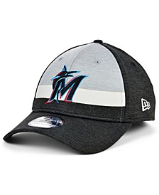 Miami Marlins  Striped Shadow Tech 39THIRTY Cap