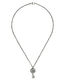 """Double G & Key 19-1/2"""" Pendant Necklace in Sterling Silver"""