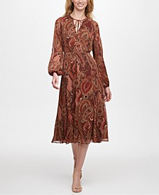 Balloon-Sleeve Paisley-Print Midi Dress