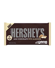 Milk Chocolate Candy Bar with Almonds, Giant, 6.8 Ounces, 3 Pack