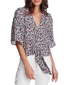 Plus Size Floral-Print Tie-Front Blouse