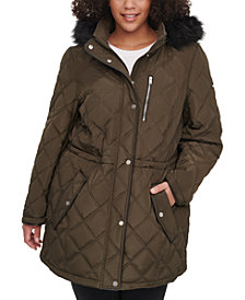 DKNY Plus Size Faux-Fur-Trim Hooded Quilted Anorak, Created for Macy's