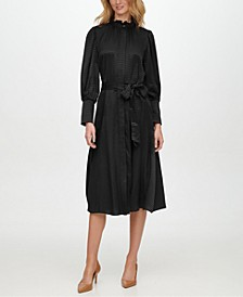 Button-Front Jacquard Shirtdress