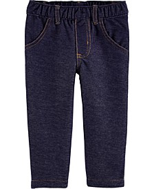Baby Girls Pull-On Knit Denim Pants