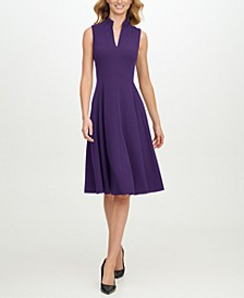 Ruffled-Neck Seamed Fit & Flare Dress