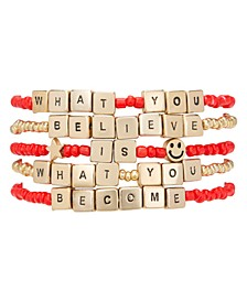 Gold-Tone 5-Pc. Set Believe & Become Beaded Stretch Bracelets