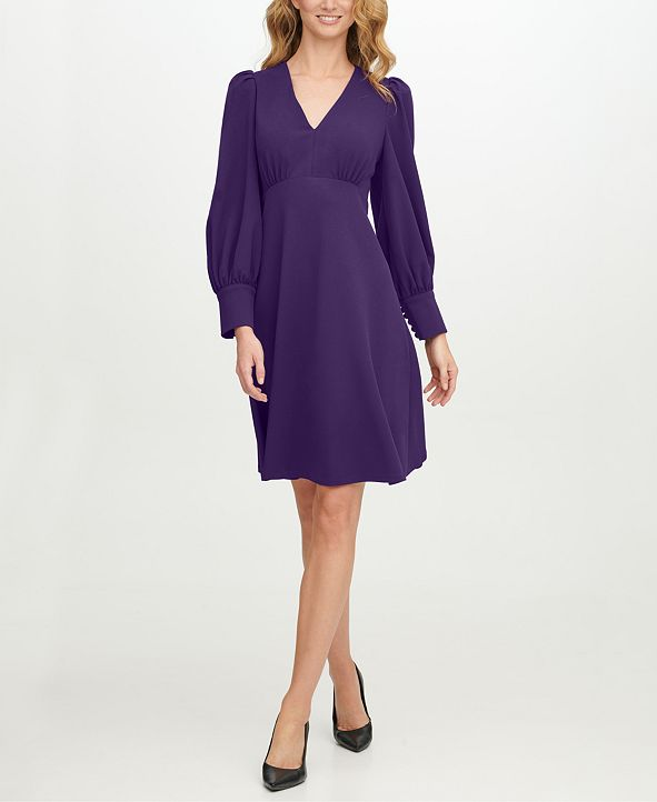 Calvin Klein Scuba-Crepe V-Neck A-Line Dress