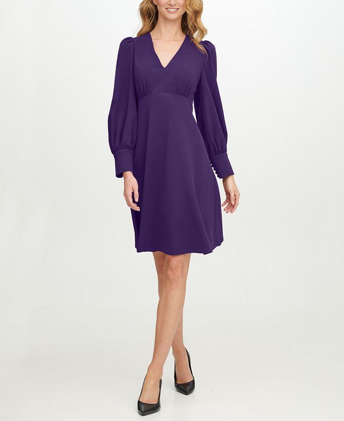 Calvin Klein - Scuba-Crepe V-Neck A-Line Dress