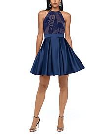 Glitter-Print Fit & Flare Dress