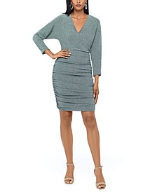 Ruched Glitter-Knit Dress