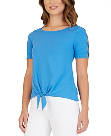 Juniors' Lattice-Sleeve Tie-Front Top
