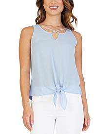 Juniors' Crisscross Tie-Front Top