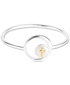 Two-Tone Cross-in-Circle Bangle Bracelet