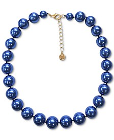 "Gold-Tone Blue Imitation Pearl Collar Necklace, 16"" + 2"" extender, Created for Macy's"