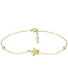 Cultured Freshwater Pearl (4mm) & Starfish Ankle Bracelet in 18k Gold-Plated Sterling Silver, Created for Macy's
