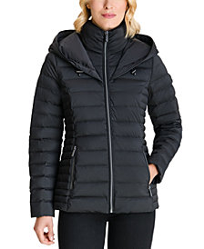 Michael Michael Kors Hooded Stretch Packable Down Puffer Coat, Created for Macy's