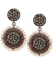 INC Brown-Tone Beaded Oval Drop Earrings, Created for Macy's
