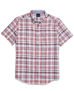 Tommy Hilfiger Adaptive Men's Archie Custom-Fit Plaid Shirt with Magnetic Buttons